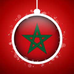 Merry Christmas Red Ball with Flag Morocco