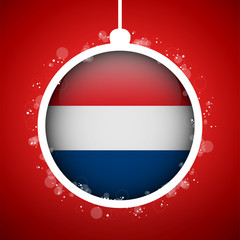Merry Christmas Red Ball with Flag Netherlands