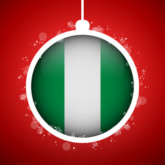 Merry Christmas Red Ball with Flag Nigeria