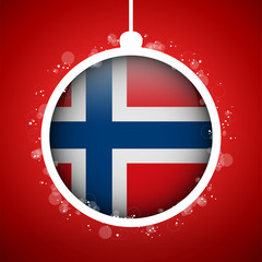 Merry Christmas Red Ball with Flag Norway