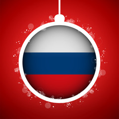 Merry Christmas Red Ball with Flag Russia