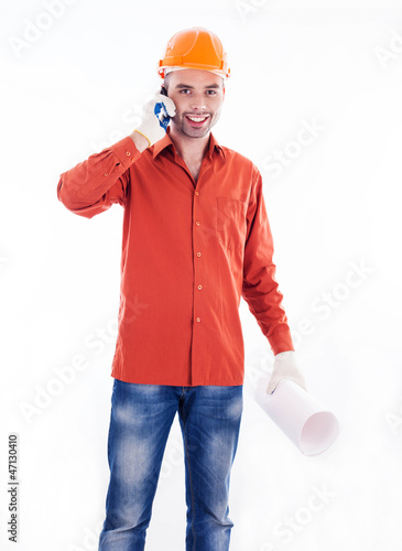 A builder with telephone
