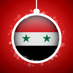 Merry Christmas Red Ball with Flag Syrian