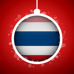 Merry Christmas Red Ball with Flag Thailand