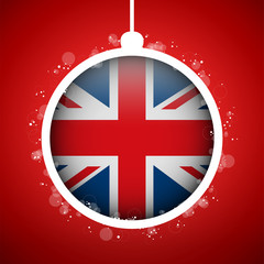 Merry Christmas Red Ball with Flag United Kingdom UK