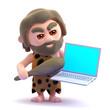 Caveman gets annoyed at crashing computer