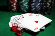 Cards, dices and chips for poker on green table