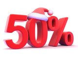 Fifty percent sign with Santa hat