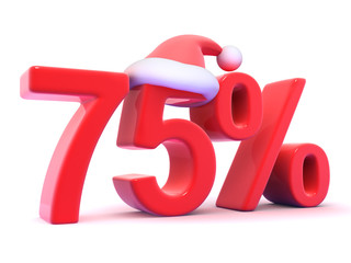 Seventy Five percent sign with Santa hat