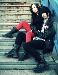 outdoor portrait of a punk couple