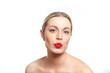 Blonde female woman pouting