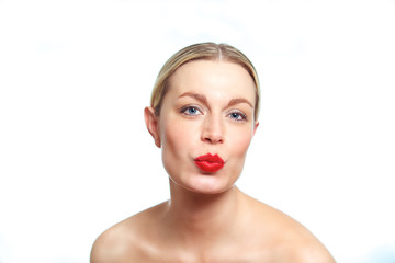 Blonde female woman pouting
