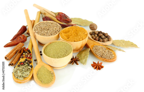 Foto op Aluminium Kruiden 2 wooden bowls and spoons with spices, isolated on white