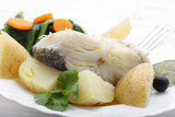 boiled cod fish with potatoes and cole