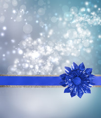 Blue Bow and Ribbon with Blue Lights