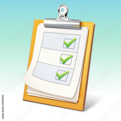 Clipboard with check list