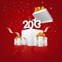 Happy New Year 2013 red art design vector