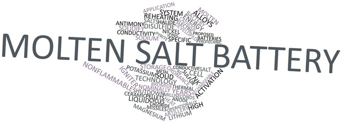 Word cloud for Molten salt battery
