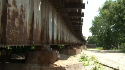 Rusty Railroad Bridge Pan Down