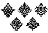 Set of vintage floral patterns and embellishments poster