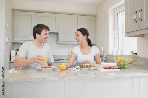 Young couple enjoying lunch