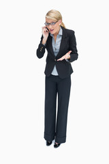 Business woman having argument on phone
