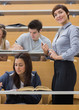 Students working at the lecture hall