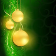 Golden baubles on dark green background