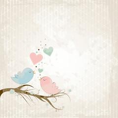 Vogel-Liebespaar auf Baumast