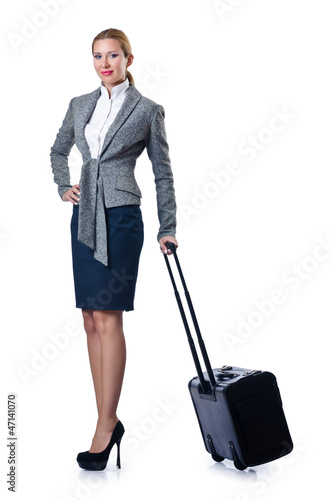 Woman businesswoman with luggage on white