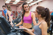 Women smiling in gym