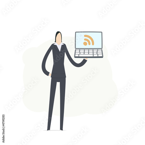 young business woman using rss