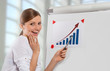 Happy woman and business progress chart, office background