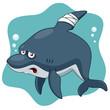 Illustration of Cartoon Shark be injured