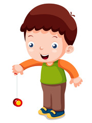 illustration of Cartoon boy playing yo-yo