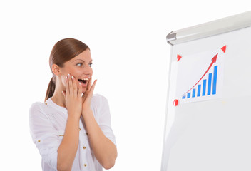 Happy woman looking at business progress chart