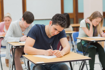 Students in an exam