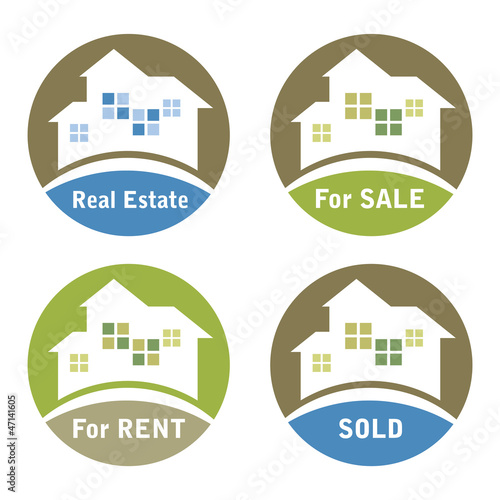 Real Estate Sign - For Sale, For Rent, Sold.