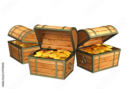 Three wooden boxes with treasures