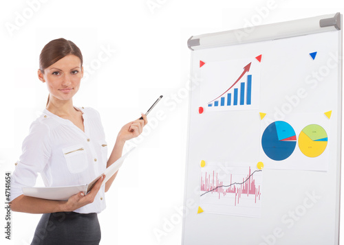 Cheerful office lady at a presentation, white background