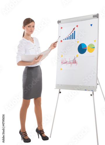 Office lady during business presentation, white background