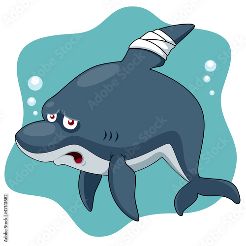Illustration of Cartoon Shark be injured
