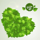 Vector natural eco green leaves. Bright eco design.