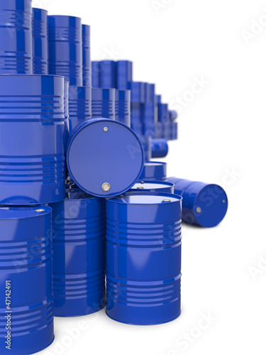 Heap of Blue Metal Oil Barrels.