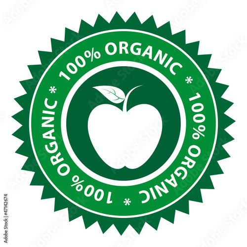 100% Organic Apple Healthy Food Label
