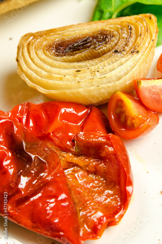 Baked and fresh vegetables