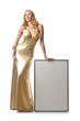 Woman in golden dress with blank board