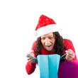 Überraschte Weihnachtsfrau, isoliert