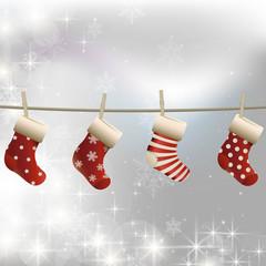 ベクター、ホワイトクリスマスとプレゼントを入れる靴下