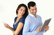 Couple websurfing on internet with new technologies